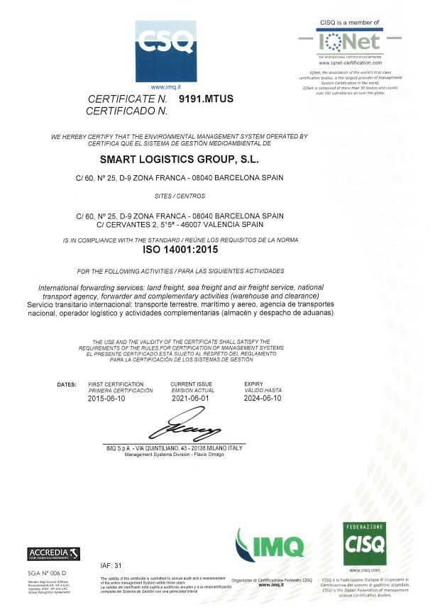 Smart Logistic certificado ISO-14001 (2021)
