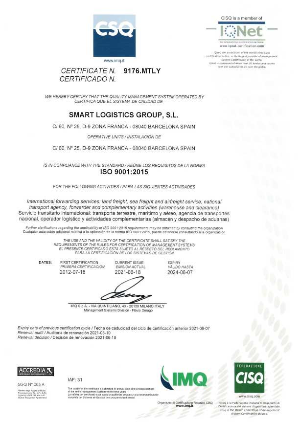Smart Logistic certificado ISO-9001 (2021)